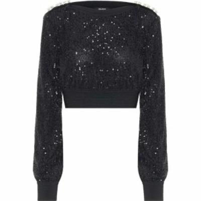 バルマン Balmain レディース ニット・セーター トップス Sequined cropped sweater Noir