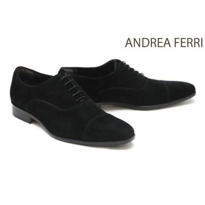 アンドレア フェリ / ANDREA FERRI メンズ ドレスシューズ g12bks ストレートチップ(キャップトゥ) ブラックスエード イタリア製
