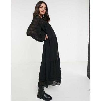 エイソス レディース ワンピース トップス ASOS DESIGN oversized maxi smock dress in grid check with pintucks in black Black