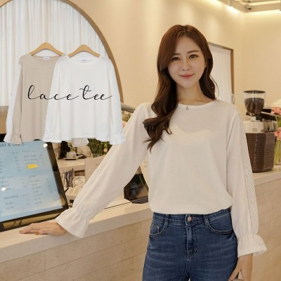 フラワーレーススリーブTシャツ  [CLICKNFUNNY] 送料無料! 韓国ファッションNo1