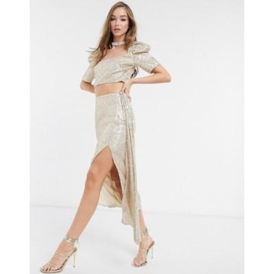 ビルゴスラウンジ レディース スカート ボトムス Virgos Lounge embellished tiered skirt co-ord in gold sequin