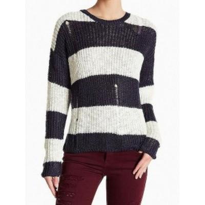 ファッション トップス Cotton Emporium NEW Blue White Striped Distressed XS Knitted Sweater