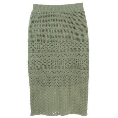 スカート 透かし柄ニットロングタイトスカート