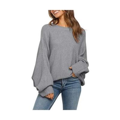 Mafulus Women's Oversized Crewneck Sweater Batwing?Puff?Long Sleeve?Cable S