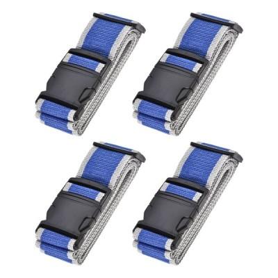 uxcell ラゲッジベルト スーツケースストベルト トラベルストラップ バックルラベル付き 2Mx5 cm PP 調整可能 ブルー グレー 4個入