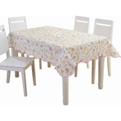 haruju テーブルクロス テーブルマット PVC ビニール キッチン ファブリック 花柄 (ピンク, 135cm×135cm)