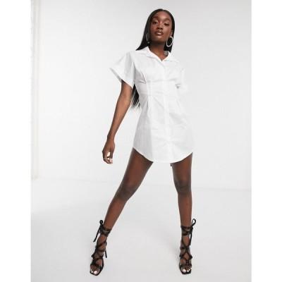 フェム リュクス Femme Luxe レディース ワンピース シャツワンピース ワンピース・ドレス Short Sleeve Shirt Dress In White ホワイト