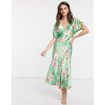 エイソス レディース ワンピース トップス ASOS DESIGN puff sleeve satin maxi tea dress in green floral print