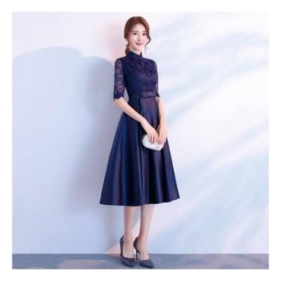 エレガント 上品 シンプル 半袖 レース Aライン ミモレ丈 ドレス