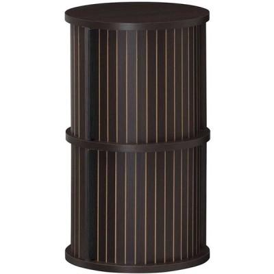 円柱ラック 2段 サイドテーブル ナイトテーブル 木製 収納付き ソファサイドテーブル ベッドサイドテーブル 蛇腹扉 チャモス 木目 寝室
