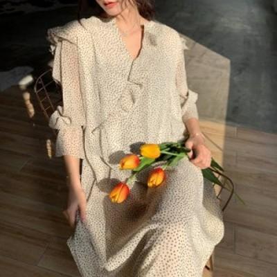 オルチャン 韓国 ファッション ワンピース レディース シフォン ミモレ丈 ドット柄 フリル Vネック 透け感 長袖 ゆったり 大人可愛い レ