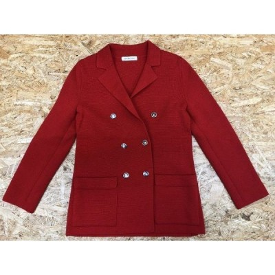 Ladies NEWYORKER ニューヨーカー サイズ11  レディース コート ジャケット 若干薄手 テーラードカラー ダブル 長袖 ウール100% RED 赤