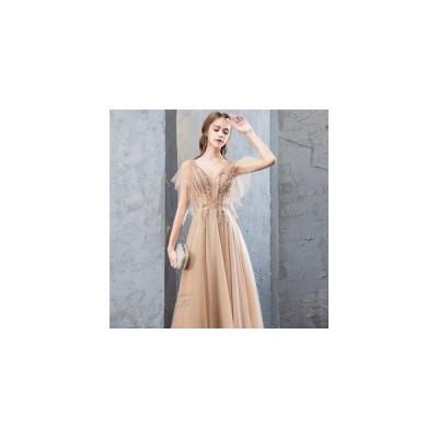 パーティードレス結婚式ドレスミモレ丈ロングドレス演奏会ドレス二次会ウェディングドレスAラインドレスパーティーピアノお呼ばれレディース
