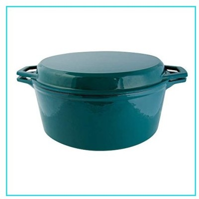 Taste of Home 7-quart Enameled Cast Iron Dutch Oven with Grill Lid【並行輸入品】