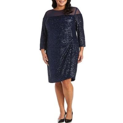 アールアンドエムリチャーズ レディース ワンピース トップス Plus Size Illusion Neck Stretch Sequin Mesh Dress