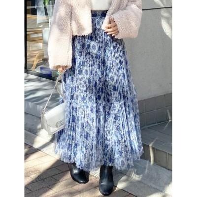 【マーキュリーデュオ/MERCURYDUO】 チュールフラワープリーツスカート