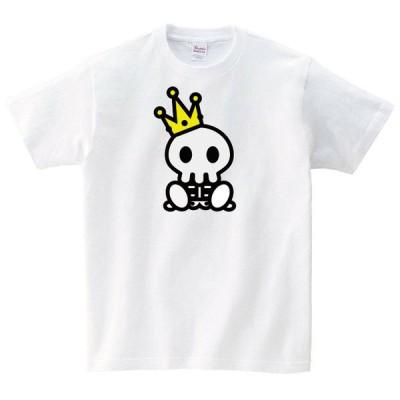 王様ドクロ Tシャツ メンズ レディース 半袖 写真 ゆったり おしゃれ トップス 白 20代 30代 ペアルック プレゼント 大きいサイズ 綿100% 160 S M L XL
