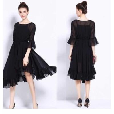 予約商品 大きいサイズ レディース 結婚式 ランダムヘム フレアワンピースドレス シフォンワンピース ドレス オーバーサイズ 韓国ファッ