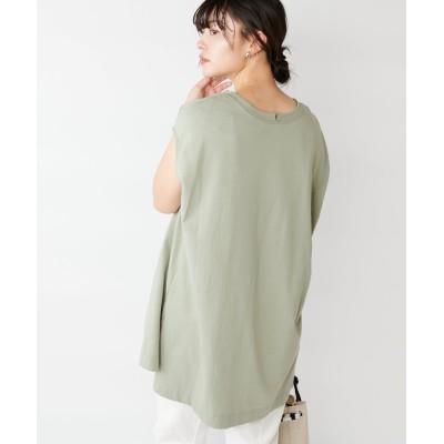 【間のびしないバランス】フレンチスリーブチュニックTシャツ