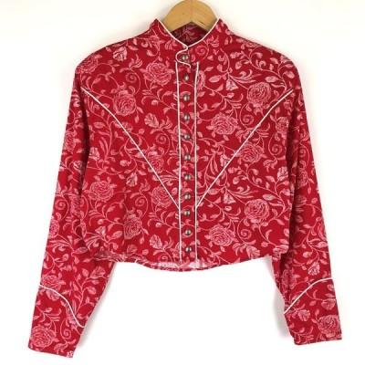ラングラー western wear ウエスタンシャツ ショート丈 薔薇 コンチョボタン ヴィンテージ 長袖 レッド レディースL