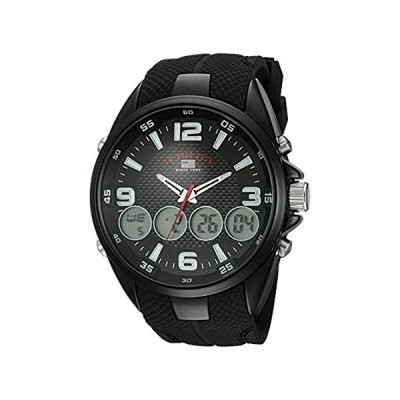 米国ポロ協会。Men 's Quartz Metal and Rubber Casual Watch , Color : Black ( Model