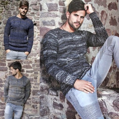 ローゲージ ニット セーター メンズ ストライプ編み 黒 紺 キャメル