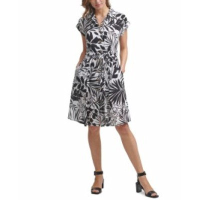 カルバンクライン レディース ワンピース トップス Tropical-Print Belted Shirtdress Black/Cream