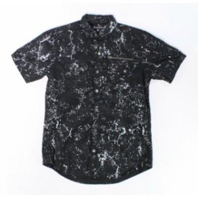 Pocket  ファッション アウター INC Mens Black Size XS Marble Print Three Pocket Button Down Shirt