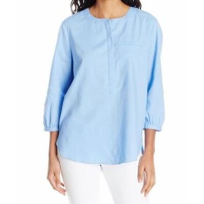 NYDJ  ファッション トップス NYDJ NEW Blue Womens Size XS Pleated Back 3/4 Sleeve Jewel Neck Blouse