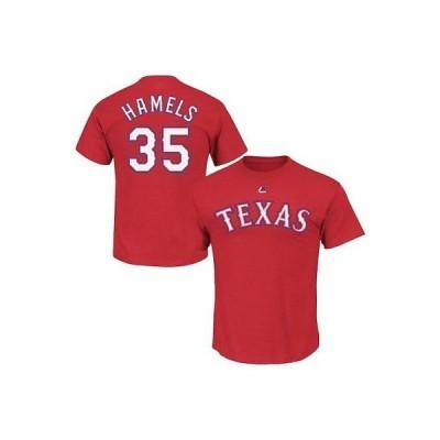 野球 MLB マジェスティック Majestic Cole Hamels Texas Rangers Youth Red Player Name & Number T-Shirt