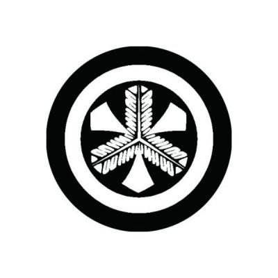 家紋シール 白紋黒地 丸に剣鷹の羽 布タイプ 直径23mm 6枚セット NS23-0522W