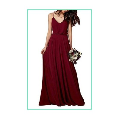 MARSEN Spaghetti Strap Bridesmaid Dresses V-Neck Chiffon Beach Wedding Long Prom Gowns for Women Wine Red-L Size 24並行輸入品