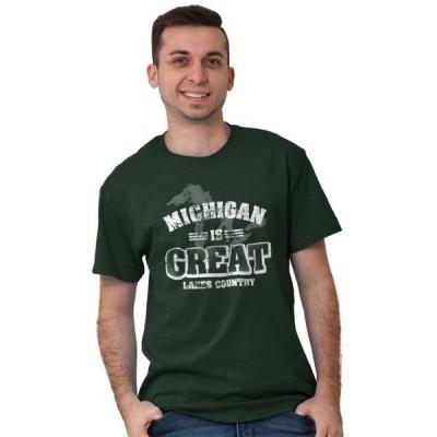 ユニセックス 衣類 トップス Map Short Sleeve T-Shirt Tees Tshirts Michigan Great Lakes Country Vacation Gift Tシャツ