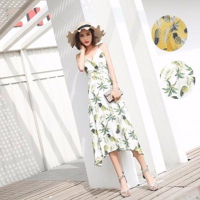 夏ワンピース レディース ビーチ 花柄 ドレス ワンピース ボヘミアン風 ハイウエスト ビーチ 旅行 春ワンピース 20代 30代