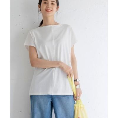 coen レディース 梨地クルンTシャツ トップス Tシャツ/カットソー オフホワイト M