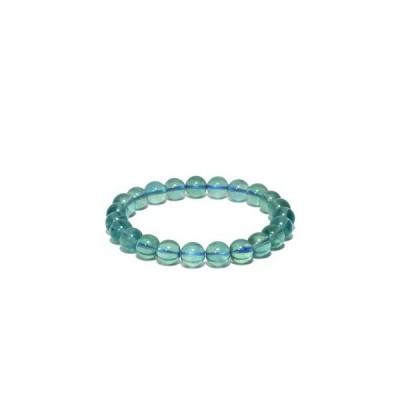 ブルーフローライト ブレスレット 7.6mm 17cmレディースM プレゼント フローライト 天然石 パワーストーン 腕輪 数珠