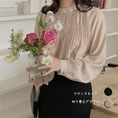 ブラウス 春の新作 切り替えシャツ 重ね着風 着痩せ トップス 韓国ファッション 大人 可愛いフリル