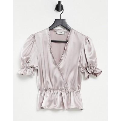 フロンスロンドン レディース シャツ トップス Flounce wrap front blouse with puff sleeves and ruffle detailing in metallic silver Metallic silver