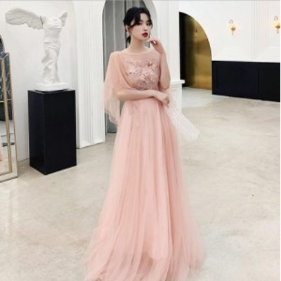 披露宴 ステージ 演奏会 上品刺繍 背中大胆開き ふんわり感リチュール ロングドレス [S~3L][ピンク]
