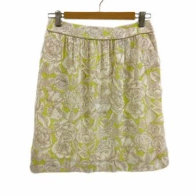 【中古】ロペ ROPE スカート 台形 ミニ 花柄 38 白 黄緑 ホワイト レディース