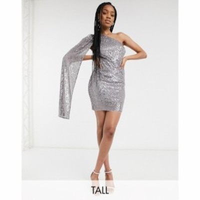 ジェイデッドローズ Jaded Rose Tall レディース ワンピース exclusive sequin one shoulder mini dress with with fluted sleeve in gun
