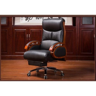 極上品☆高級オフィスチェア エグゼクティブチェア 希少オフィス家具 長居も快適だ 革張り事務用品 リクライニング可ボスチェア A89