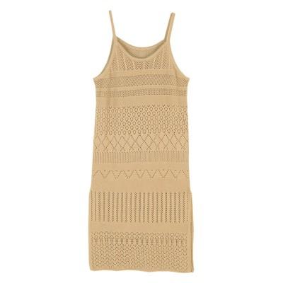 かぎ針編みニットキャミソールワンピース ティティベイト titivate (ワンピース)Dress