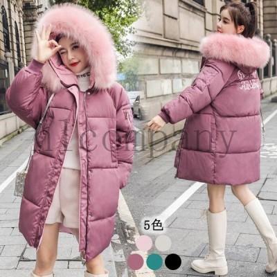 韓国中綿コートフード付きロング丈コートダウンジャケット軽量ダウンコート暖かい冬中綿入れファー襟ジャケットレディース大きいサイズ長袖アウター