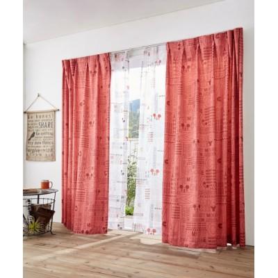 【ディズニー】ミッキーマウスカーテン&レース4枚セット(ポップ) カーテン&レースセット, Curtains, sheer curtains, net curtains(ニッセン、nissen)