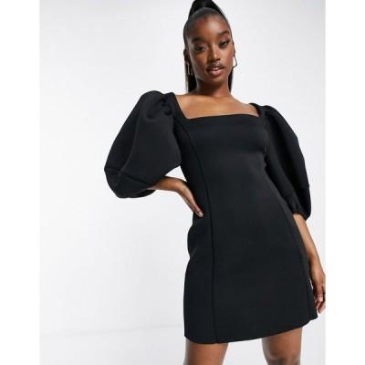 エイソス ミニドレス レディース ASOS DESIGN Square neck puff sleeve mini aline dress in black エイソス ASOS ブラック 黒