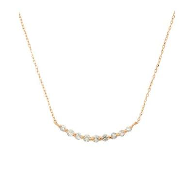 K18ゴールド 天然ダイヤモンド 計0.2ct ライン ネックレス 【K18PG ピンクゴールド】