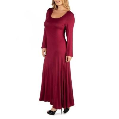 24セブンコンフォート ワンピース トップス レディース Long Sleeve T-Shirt Plus Size Maxi Dress Dark Red