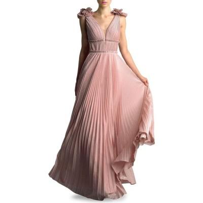Basix レディース パーティードレス Vネック ワンピース・ドレス Pleated V-Neck Gown ピンク