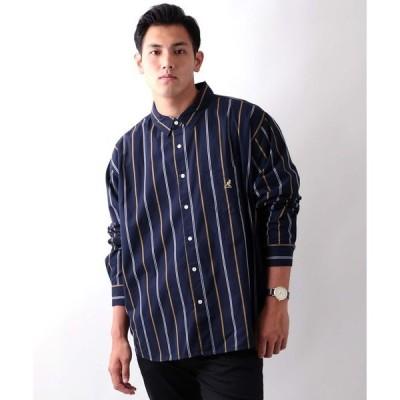 シャツ ブラウス KANGOL/カンゴール 綿ツイル ストライプ無地レギュラーカラーシャツ/大きいサイズ